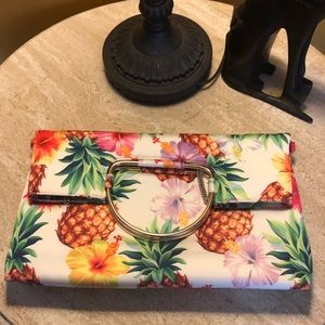 Handbags - Floral/pineapple clutch/crossbody bag. NWOT